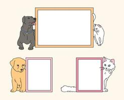 chiens et chats mignons autour de cadres vides. illustrations de conception de vecteur de style dessiné à la main.