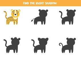 trouver la bonne ombre de léopard mignon. feuille de calcul logique. vecteur