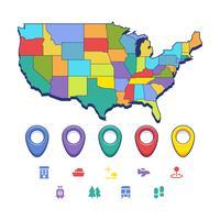 Vecteurs uniques de carte de repère des États-Unis vecteur