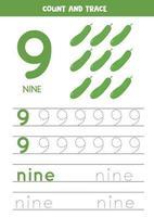 feuille de calcul pour apprendre les chiffres et les lettres avec des concombres de dessins animés. numéro neuf. vecteur