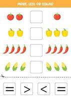 comparez le nombre de légumes. plus, moins ou égal. vecteur