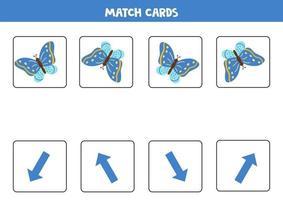 cartes assorties avec orientation spatiale et papillon bleu. vecteur