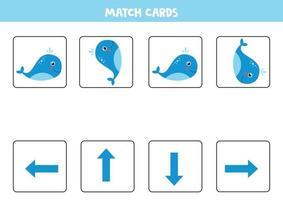 faire correspondre les cartes avec l'orientation de la baleine bleue. vecteur
