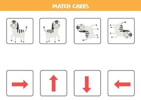 faire correspondre les cartes d'orientation et les zèbres. jeu de cartes pour les enfants. vecteur