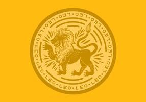 Insigne du zodiaque lion lion vecteur