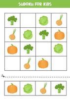 jeu de sudoku pour les enfants d'âge préscolaire. légumes de dessin animé mignon. vecteur