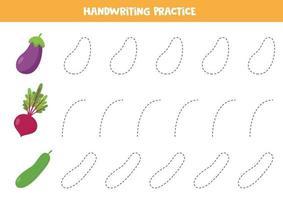 traçage des lignes pour les enfants. concombre de vecteur, aubergine et betterave. vecteur