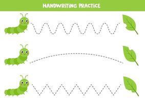 pratique de l'écriture manuscrite pour les enfants. jolie chenille verte et feuilles mordues. vecteur