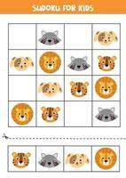 jeu de sudoku pour les enfants. mignons visages d'animaux. vecteur