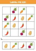 sudoku pour les enfants avec des légumes mignons de bande dessinée. vecteur