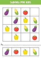 jeu de sudoku avec aubergine, maïs, tomate et poivron. vecteur