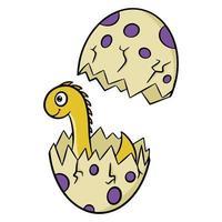mignon petit dinosaure éclos d'un œuf en style cartoon. illustration vectorielle isolée sur fond blanc. vecteur