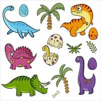 dinosaures mignons dessinés à la main illustrations vectorielles en style cartoon. vecteur