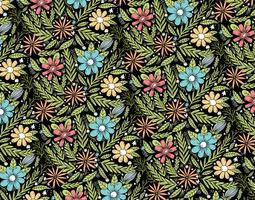 motif floral dessiné main coloré vecteur