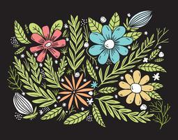 fond de fleur dessiné main coloré vecteur