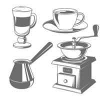 tasses à café, moulin, icônes de pot vecteur