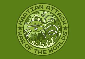 badge de mérite d'attaque extraterrestre vecteur