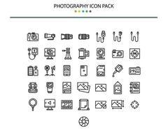 style de contour de jeu d & # 39; icônes de photographie vecteur