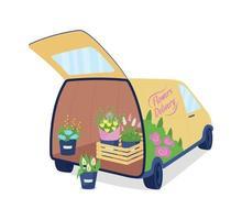 Livraison de fleurs auto avec objet vectoriel de couleur plat coffre ouvert