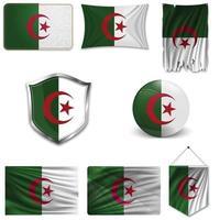 ensemble du drapeau national de l'Algérie dans différents modèles sur fond blanc. illustration vectorielle réaliste. vecteur