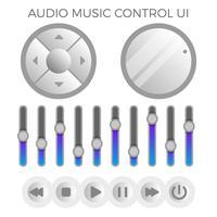 Plat moderne minimaliste Audio Control UI Template vecteur