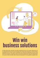 win win win business solution affiche plate silhouette vecteur modèle. Brochure de marketing d'affiliation, conception de concept d'une page de livret avec des personnages de dessins animés. dépliant de partenariat, dépliant avec espace de texte