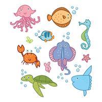 Animaux mignons du royaume des océans vecteur