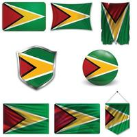 ensemble du drapeau national de la Guyane dans différents modèles sur fond blanc. illustration vectorielle réaliste. vecteur
