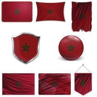 ensemble du drapeau national du Maroc dans différents modèles sur fond blanc. illustration vectorielle réaliste. vecteur
