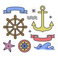 Vecteurs d'éléments nautiques uniques vecteur