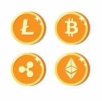 illustration vectorielle de monnaie numérique collection icône plate