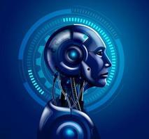 illustrations vectorielles de tête robot android vecteur