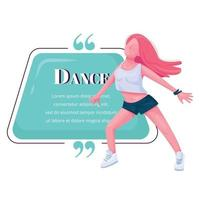 citation de personnage de vecteur de couleur plat danseuse contemporaine. spectacle de danse moderne. jeune adolescente danse libre. modèle de cadre vierge de citation. bulle. citation conception de boîte de texte vide
