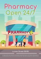 pharmacie ouverte 24 7 modèle de vecteur plat affiche. médecine et soins de santé. médicaments disponibles tous les jours. brochure, conception de concept d'une page de livret avec des personnages de dessins animés. dépliant de pharmacie, dépliant