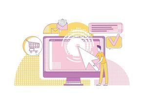 illustration vectorielle de ppc marketing fine ligne concept. Personnage de dessin animé 2d utilisateur d'ordinateur pour la conception web. stratégie de promotion Internet moderne, publicité au paiement par clic, idée créative de la méthode sem vecteur