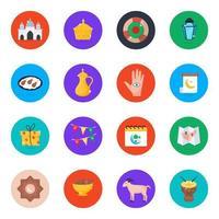 jeu d'icônes culturelles islamiques vecteur