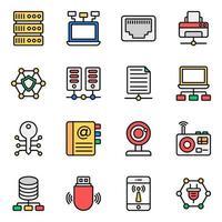 jeu d'icônes de réseau et de technologie