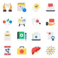 jeu d'icônes d'accessoires médicaux et de soins de santé vecteur
