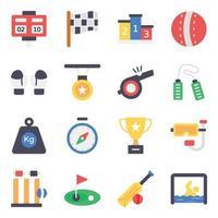 jeu d'icônes d'éléments de sport et de remise en forme