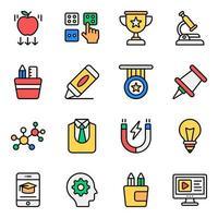 jeu d'icônes d'éléments d'apprentissage et d'éducation vecteur