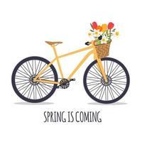 vélo avec un bouquet de fleurs printanières. illustration vectorielle. eps10 vecteur