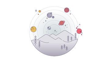 Vecteur de paysage étoilé