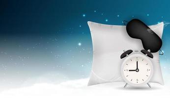 bonne nuit abstrait avec masque de sommeil drôle, réveil et oreiller contre le ciel bleu, les étoiles et les nuages 3d réalistes. illustration vectorielle eps10 vecteur