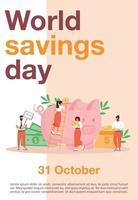 modèle de vecteur plat affiche de la journée mondiale de l'épargne. planification budgétaire, brochure d'investissement en argent, conception de concept d'une page de livret avec des personnages de dessins animés. dépliant de gestion des finances, dépliant