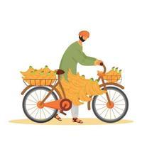 homme indien transportant des bananes sur le caractère sans visage de vecteur de couleur plat de vélo. vendeur de fruits exotiques, homme avec illustration de dessin animé isolé cycle pour la conception graphique et l'animation web