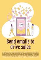 envoyer des e-mails pour conduire un modèle vectoriel de silhouette plate affiche de vente. brochure de marketing numérique, conception de livret d'une page avec des personnages de dessins animés. flyer newsletter, dépliant avec espace de texte