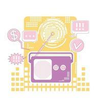 illustration vectorielle de radio marketing fine ligne concept. dispositif de diffusion publicitaire composition de dessin animé 2d pour la conception web entreprise de publicité numérique, idée créative de programme commercial vecteur
