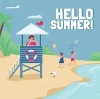 sécurité à la plage, maquette de publication sur les médias sociaux de la tour de sauvetage. bonjour phrase d'été. modèle de conception de bannière Web. booster, mise en page du contenu avec inscription. affiche, annonces imprimées et illustration plate vecteur