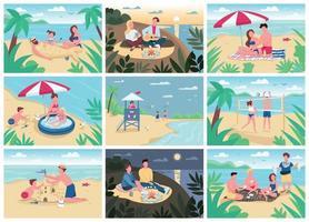 activités de plage ensemble d'illustrations vectorielles couleur plat. animations pour les vacances d'été pour enfants et adultes. touristes se faire bronzer, jouer au volleyball, construire des personnages de dessins animés 2d de château de sable vecteur