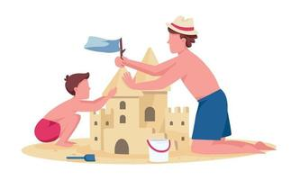 père et fils construisant des personnages sans visage de vecteur de couleur plat château de sable divertissement d'été en famille sur la plage illustration de dessin animé isolé pour la conception graphique et l'animation web